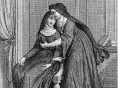 illustration for book la religieuse the nun by denis diderot published in 1796 engraving at convent suzanne simonin is subjected to advances of the mother superior