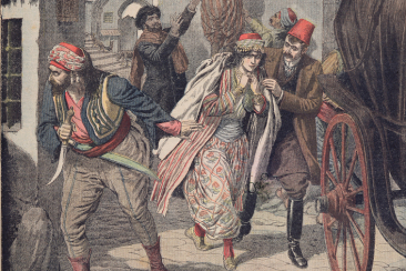 scandal in constantinople two young muslim ladies escaping from a harem illustration from le petit journal 4th february 1906 coloured engraving