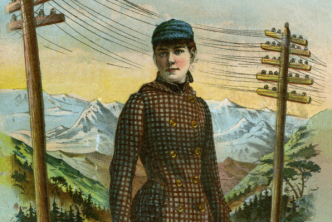 circa 1890 board game cover art for around the world with nellie bly by mcloughlin bros. text has been digitally removed