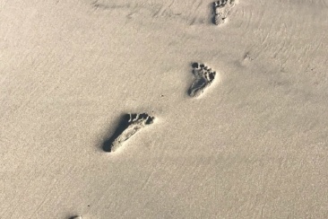 footprints on brown sand