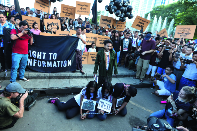 myanmar press freedom advocates and youth activists hold a demonstration demanding the freedom of two jailed reuters journalists wa lone and kyaw soe oo in yangon