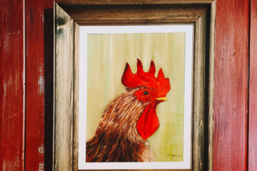 red and brown rooster painting