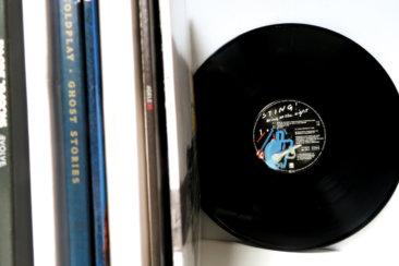 vinyl record on white desk