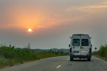 white van at road during daytime