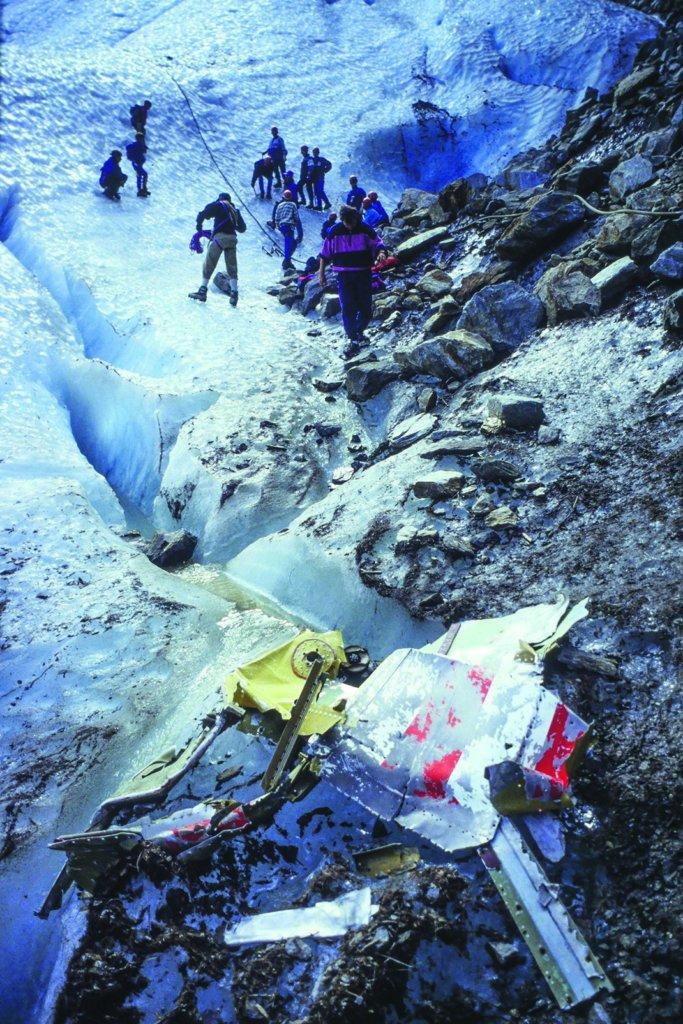plane crash wrecks glacier des bossons mont blanc massif chamonix haute savoie 1993 france. image shot 1993. exact date unknown