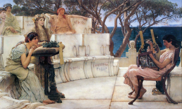sappho ancient greek poet seen here at left in the painting sappho and alcaeus painted by lawrence alma tadema in 1881